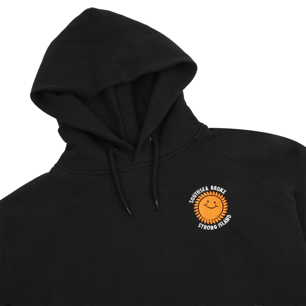 Southsea Bronx Strong Island Embroidered Hoodie in Black - Detail