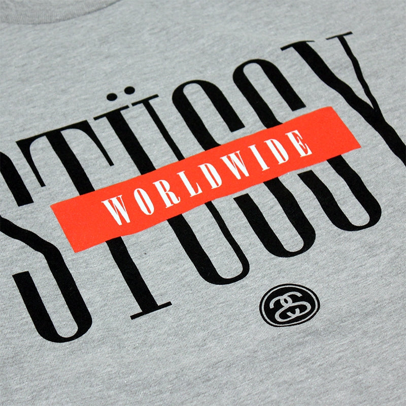 Stussy Worldwide T Shirt in Heather Grey - Print
