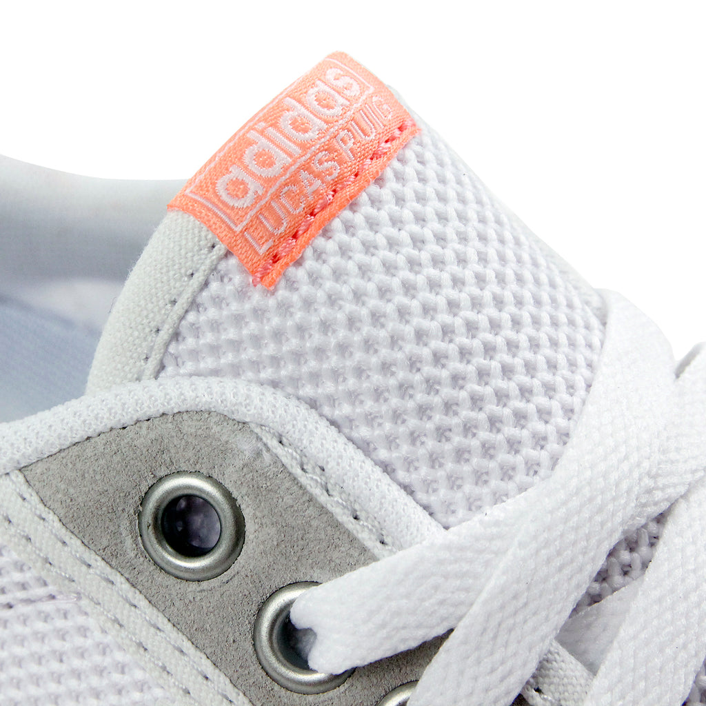 Adidas Lucas Premiere ADV Shoes in Crystal White / White / Sun Glow - Tongue