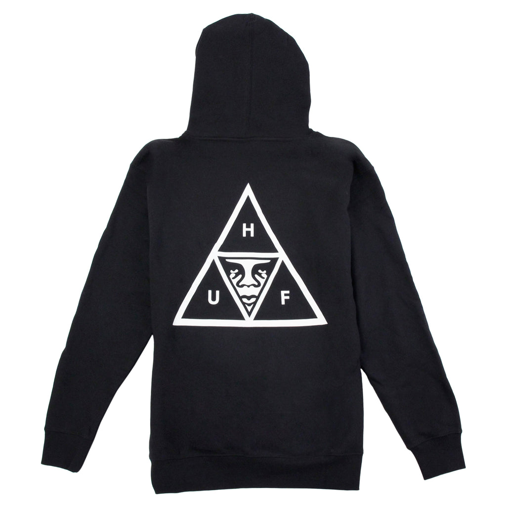 HUF x Obey Triple Triangle Hoodie in Black - Back