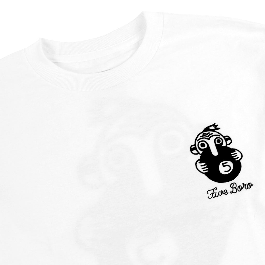 5Boro 5 Ball T Shirt in White - Detail
