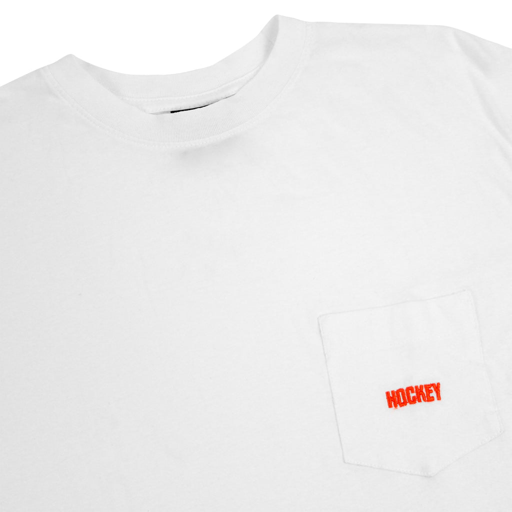 Hockey Skateboards Logo Pocket T Shirt in White - Detail