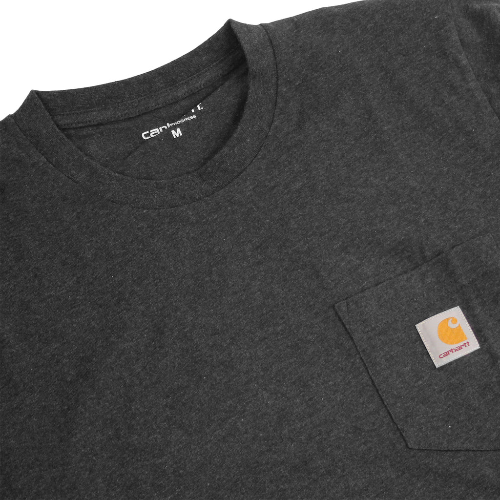 Carhartt WIP L/S Pocket T Shirt in Black Heather - Detail