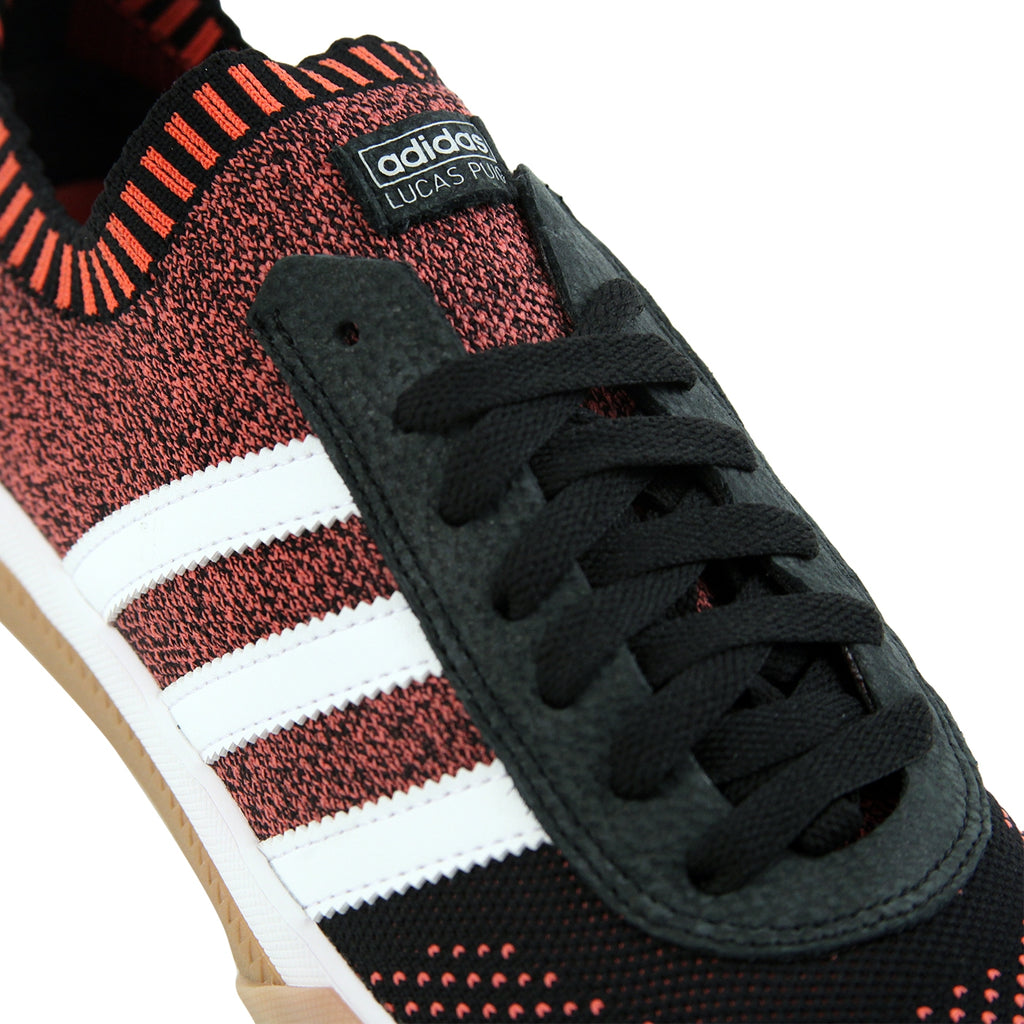 Adidas Skateboarding Lucas Premiere Primeknit Shoes in Core Black / FTW White / Trace Scarlet - Detail