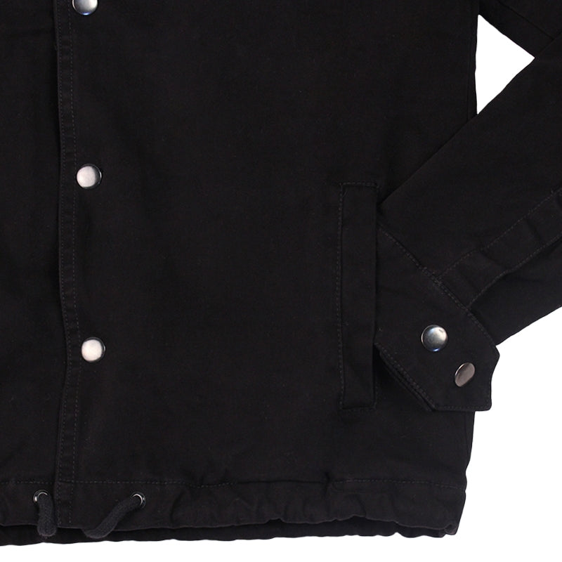 Polar Skate Co Quilted Coach Jacket in Black - Sleeve