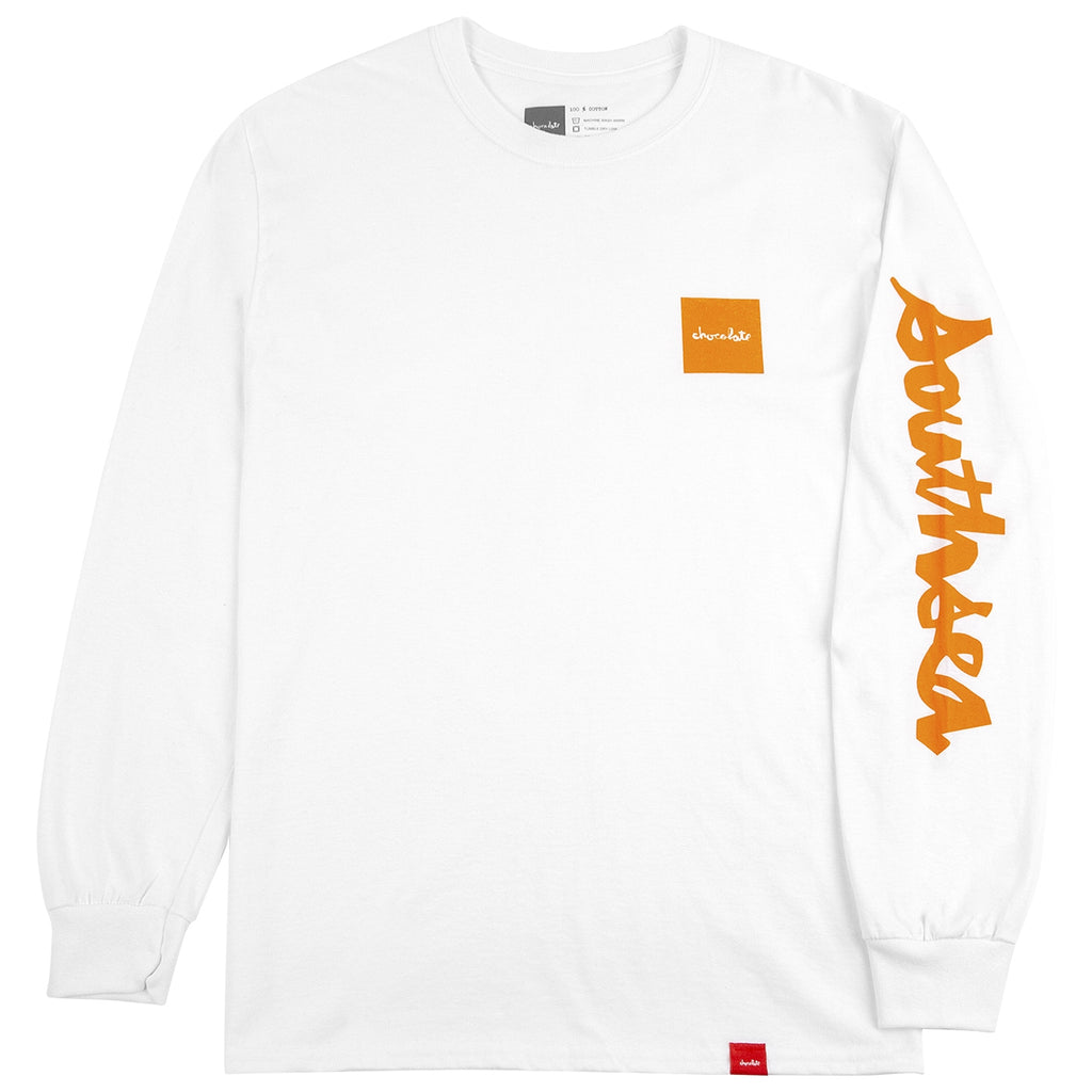 Bored of Southsea x Chocolate Skateboards L/S Chunk The World T Shirt in White