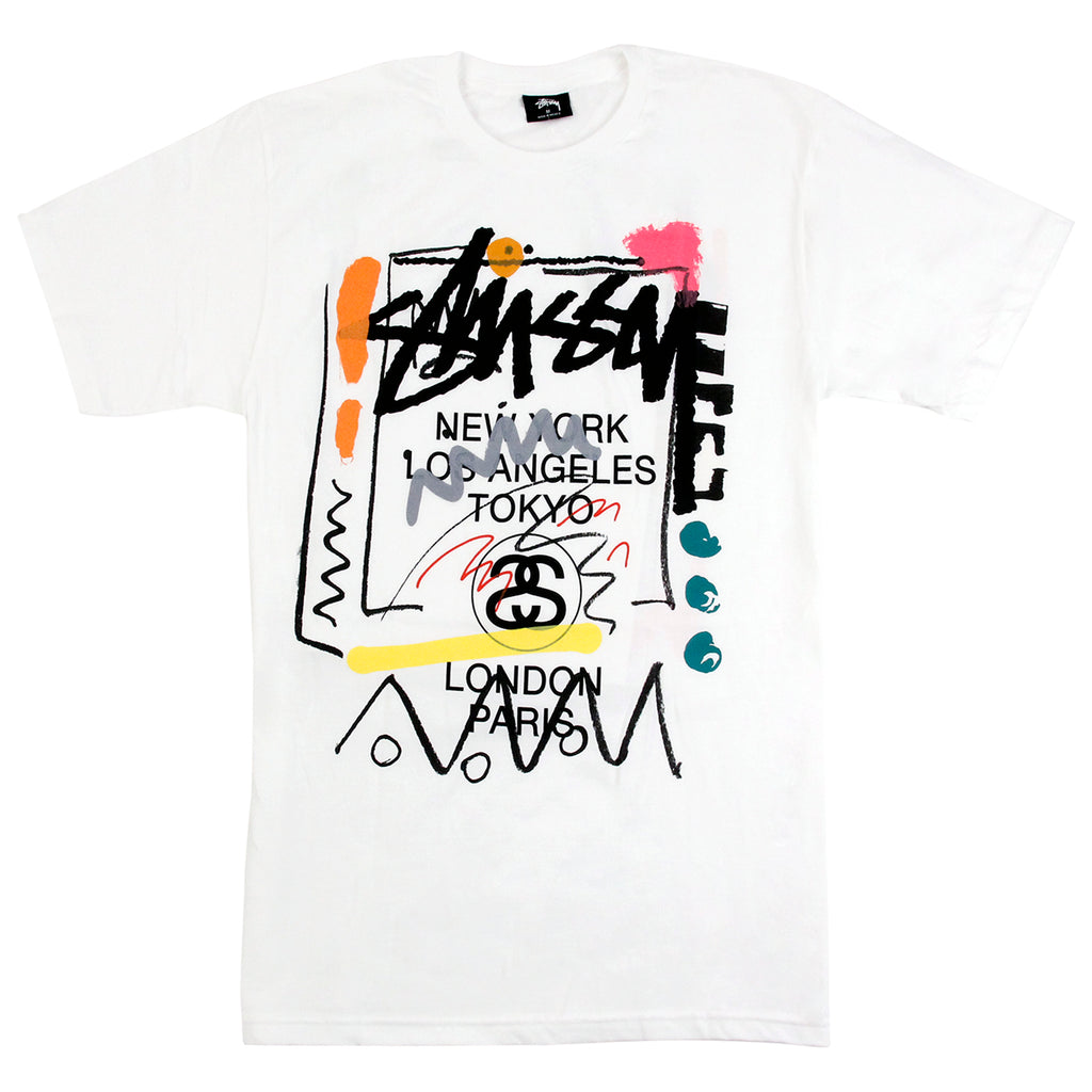 Stussy World Tour Doodle T Shirt in White
