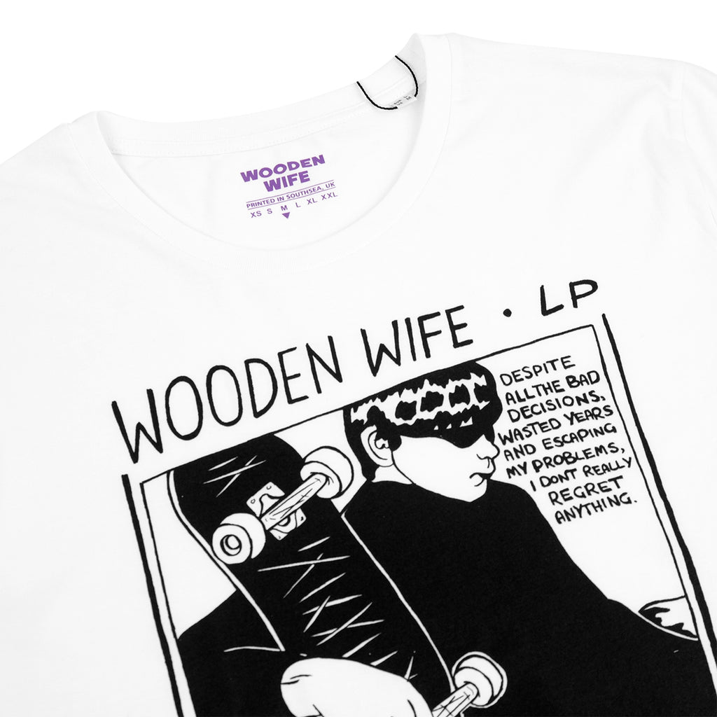 Wooden Wife Skateboards Sonic T Shirt in White - Detail