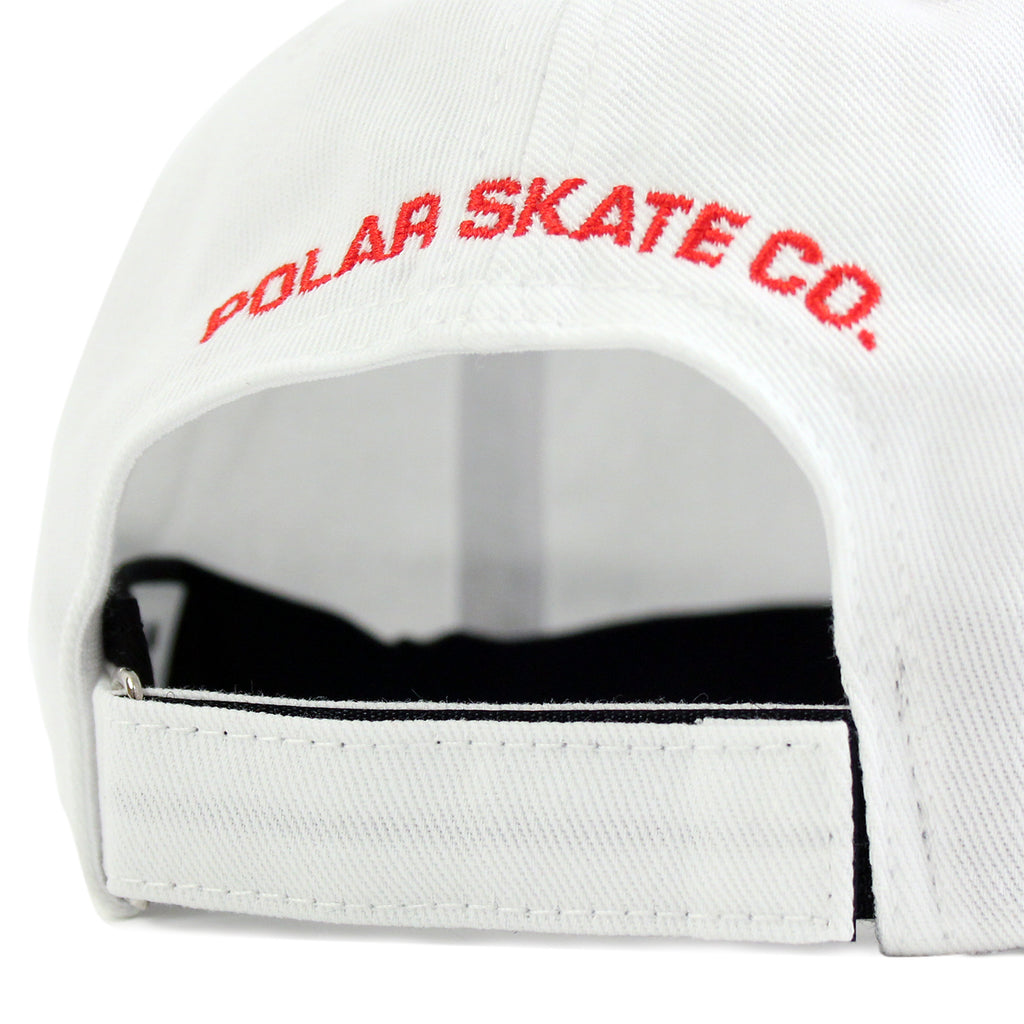 Polar Skate Co No Comply Cap in White / Red - Back