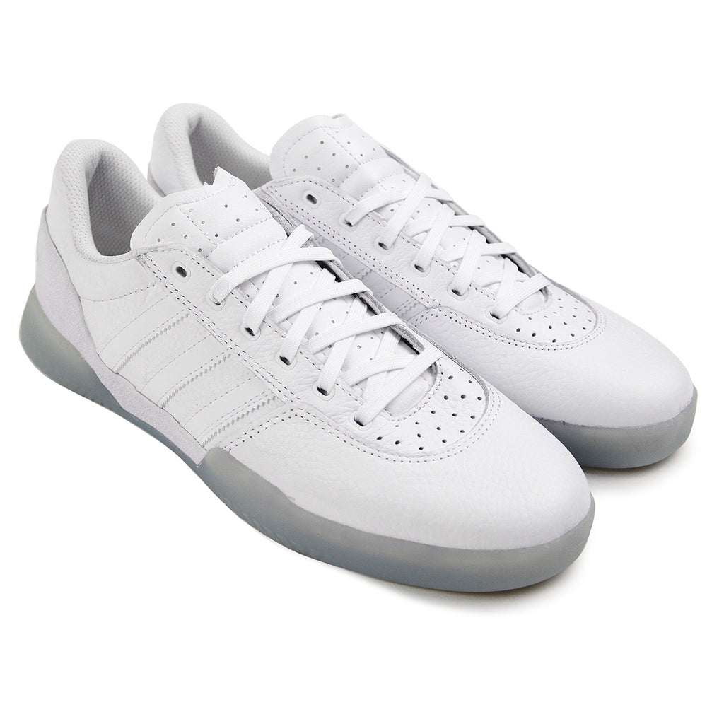 Adidas Skateboarding City Cup Shoes - White / White / Gold Metallic - Paired