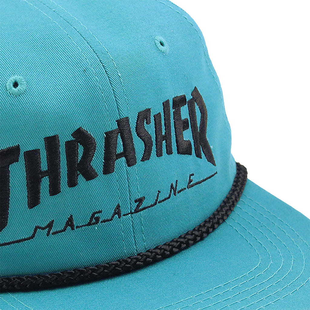 Thrasher Rope Snapback Cap in Teal / Black - Detail