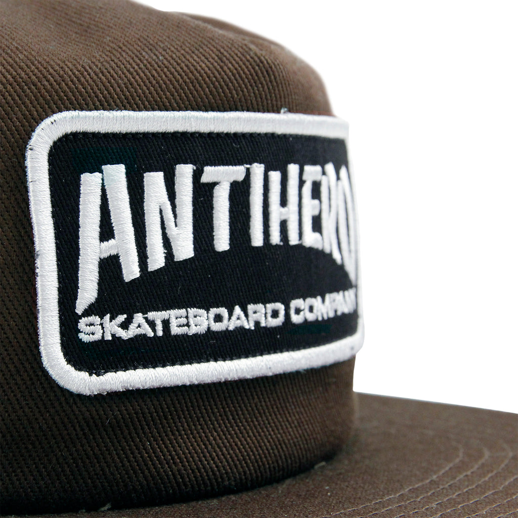 Anti Hero Skateboards Skate Co Patch Snapback Cap in Brown - Front