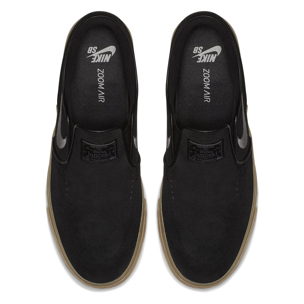 bf271674e Nike SB Zoom Stefan Janoski Slip Shoes in Black   Gunsmoke - Gum Light Brown  -