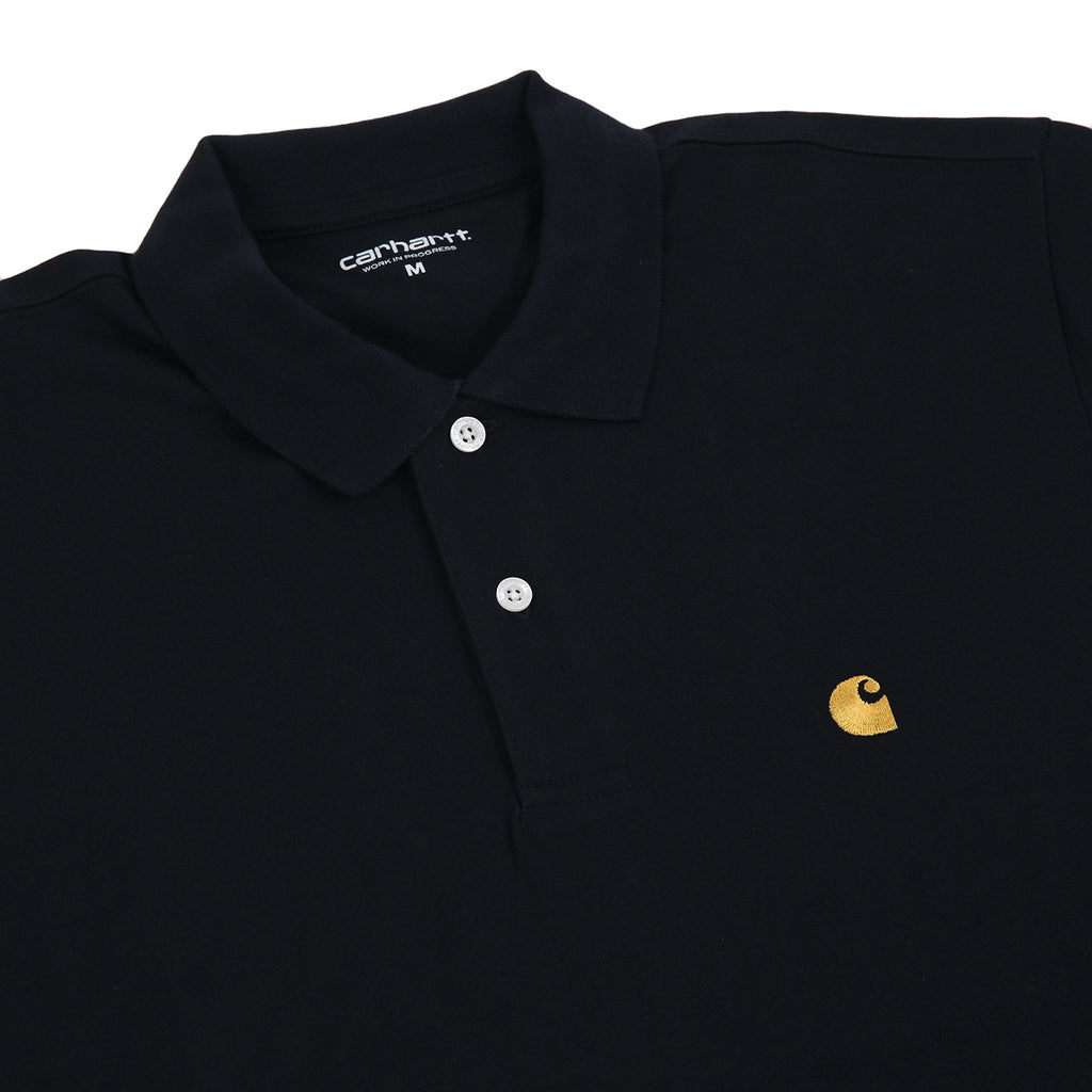 Carhartt Chase Polo Shirt in Dark Navy / Gold - Detail