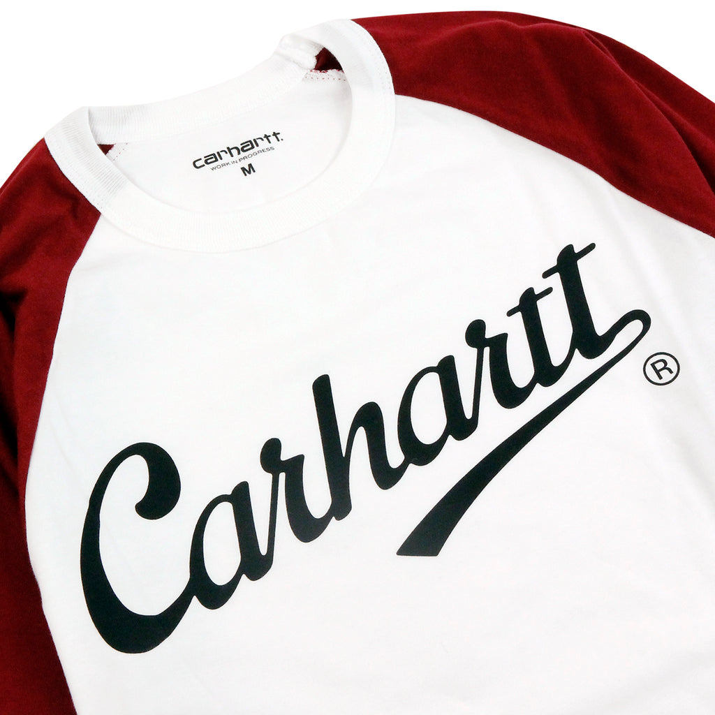 Carhartt L/S League T Shirt in White / Cordovan - Detail