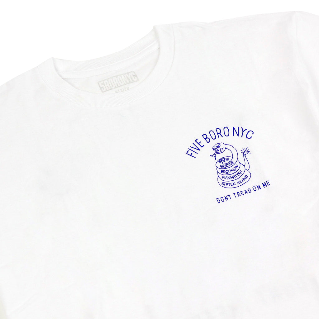 5Boro Don't Tread On Me T Shirt in White - Detail