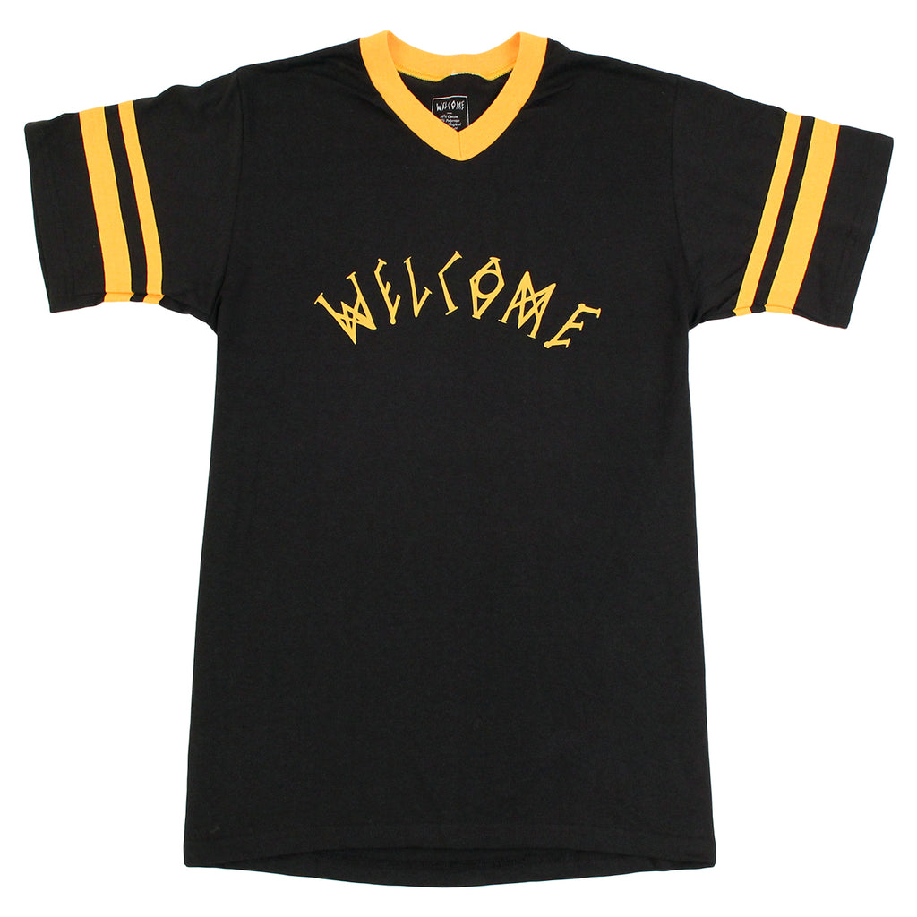 Angels Baseball Ringer T Shirt in Black/Yellow by Welcome Skateboards
