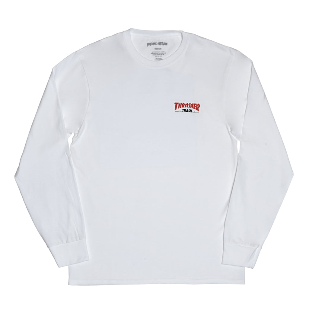 Fucking Awesome x Thrasher Thrash Me L/S T Shirt in White - Front
