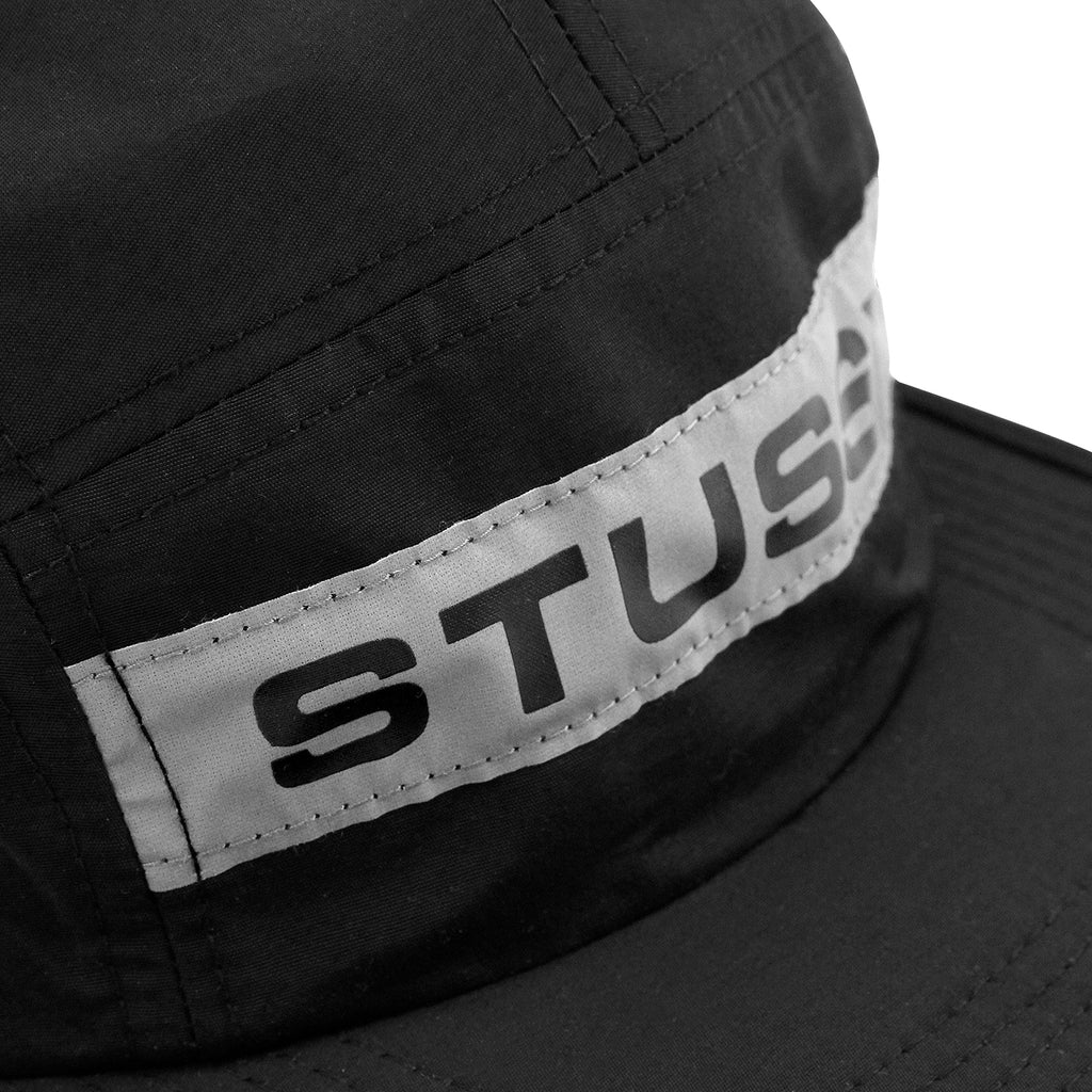 Stussy Reflective Tape 5 Panel Cap in Black - Detail