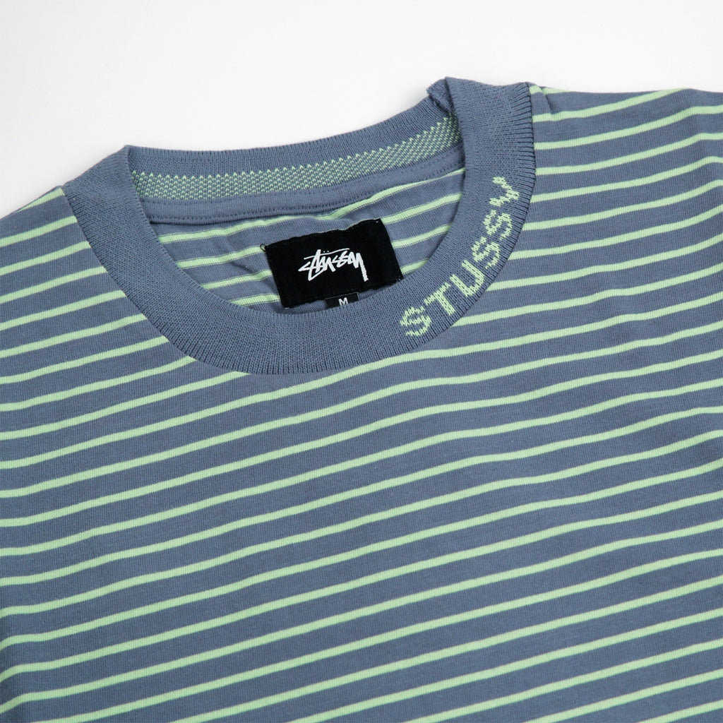 cba2fc2b1b Jack Stripe S/SL Crew T Shirt in Blue by Stussy | Bored of Southsea