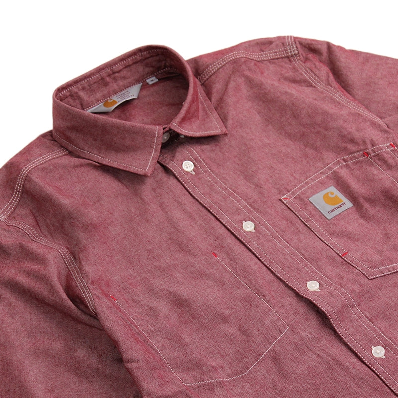Carhartt State L/S Shirt in Cordovan Rinsed - Detail
