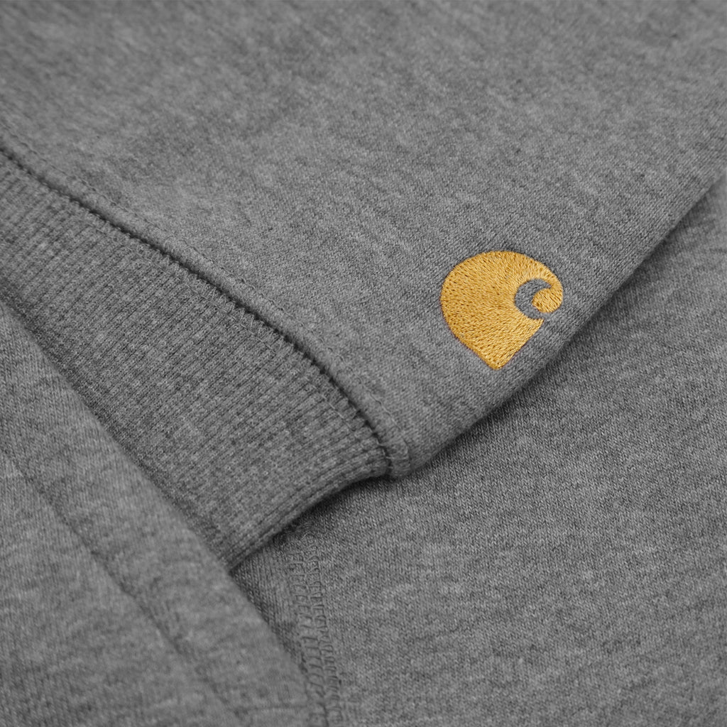 Carhartt Hooded Chase Sweat Hoodie in Dark Grey Heather / Gold - C Logo