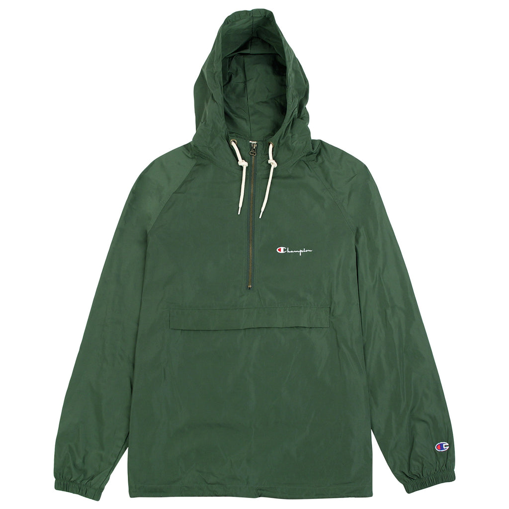 Champion Reverse Weave Half Zip Wind Jacket in Bottle Green