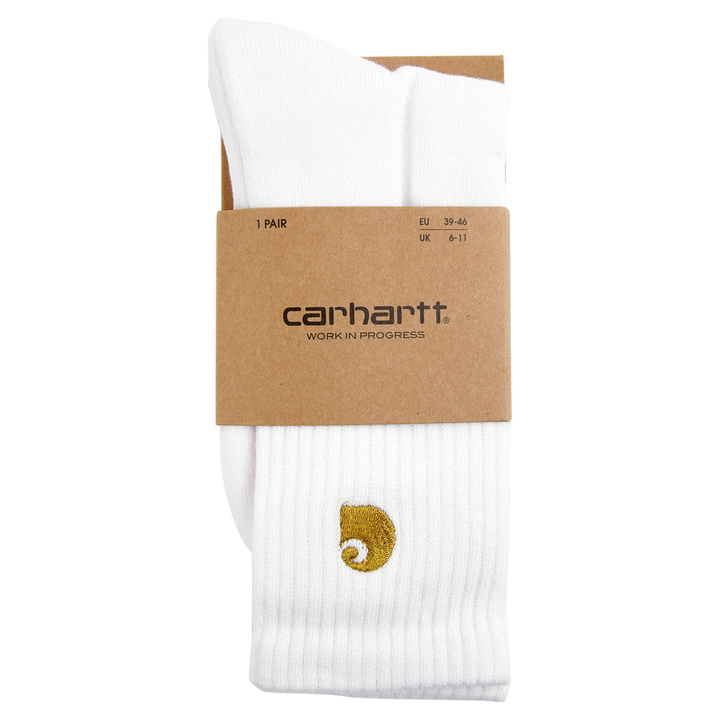Carhartt Chase Socks in White / Gold - Detail