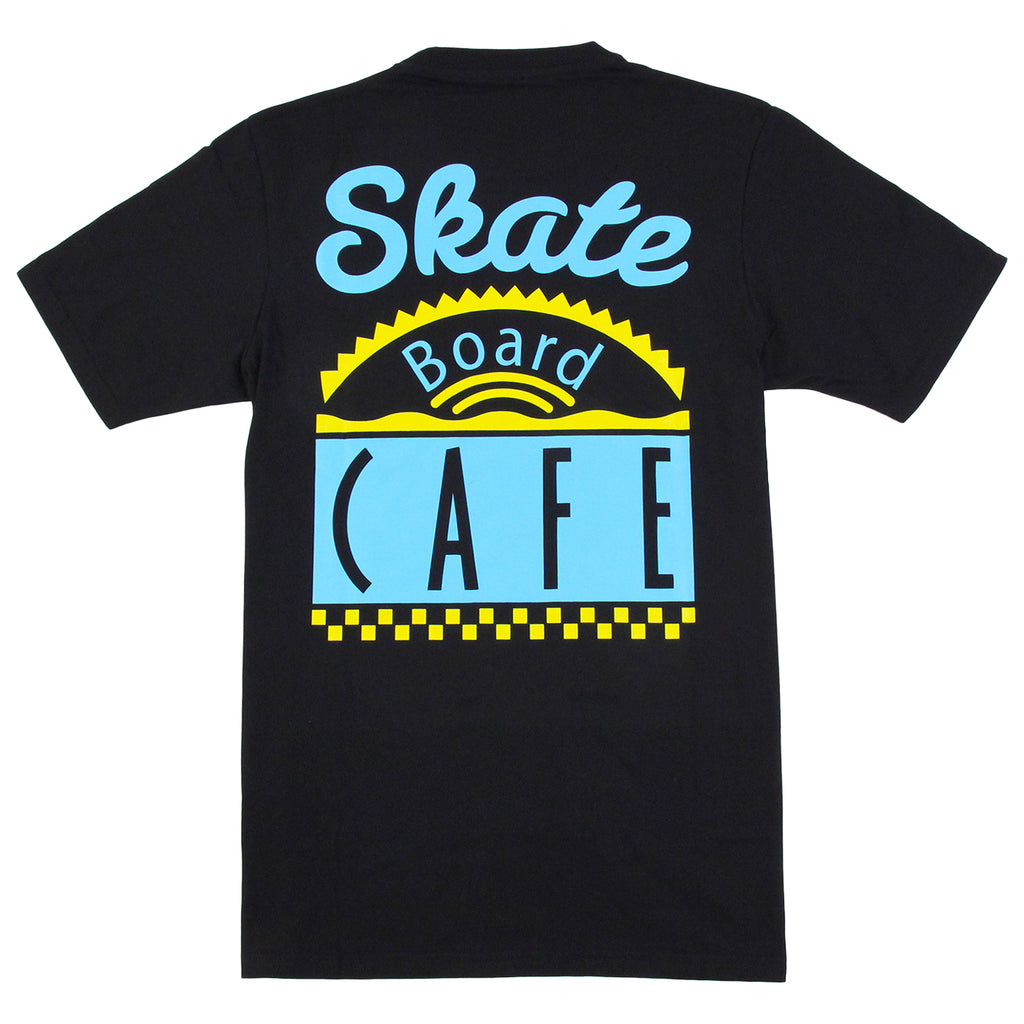 Skateboard Cafe Diner T Shirt in Black / Blue / Yellow