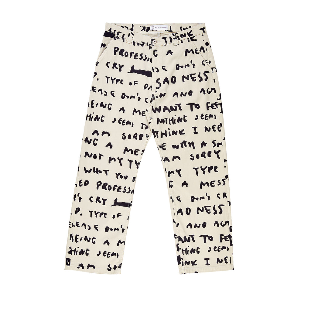 Polar Skate Co 40's Sad Notes Pants - Ivory