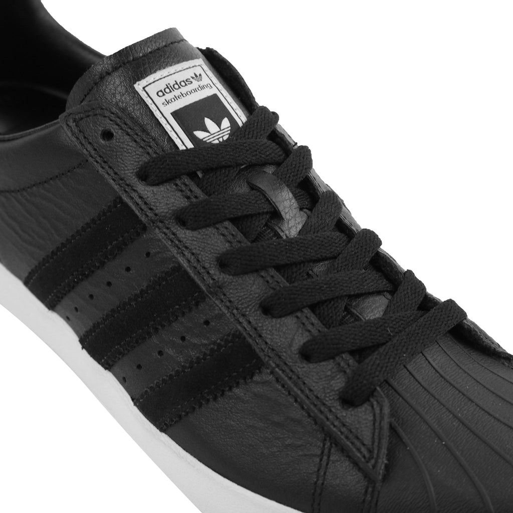 Adidas Skateboarding Superstar Vulc ADV Shoes in Core Black / Core Black / White - Detail