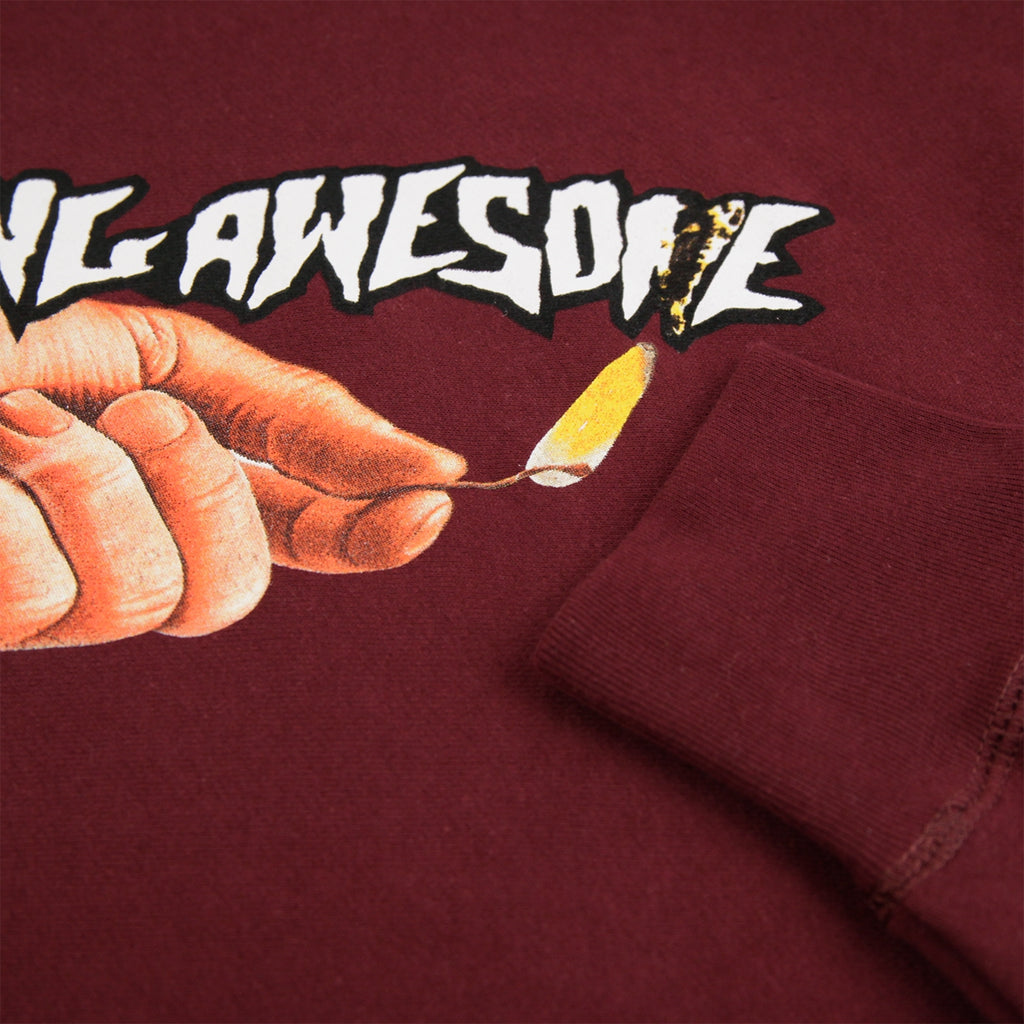 Fucking Awesome Pyro Hoodie in Maroon - Cuff