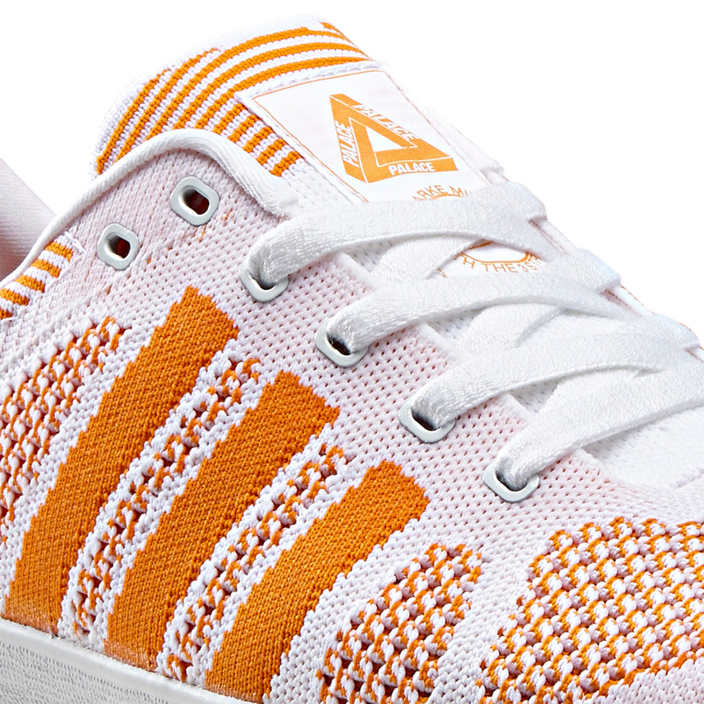 Palace x Adidas Palace Pro Primeknit Shoes in White / Bright Orange / FTWR White - Detail