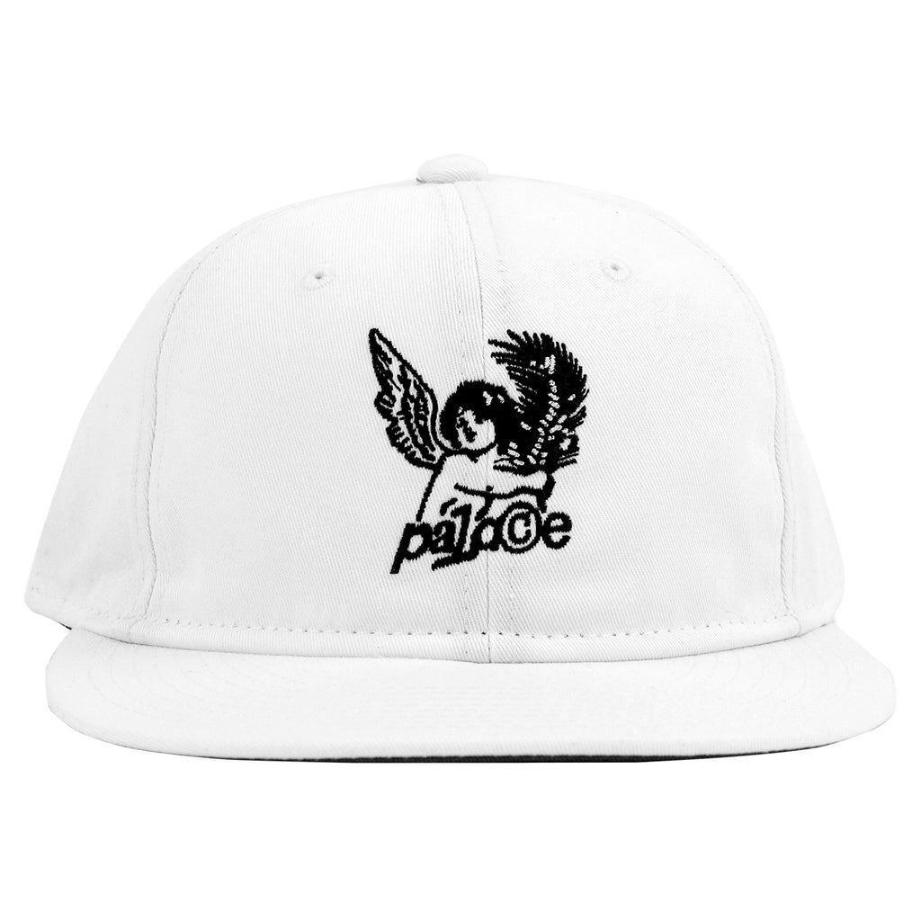 Palace Cherub 6 Panel Cap in White - Front