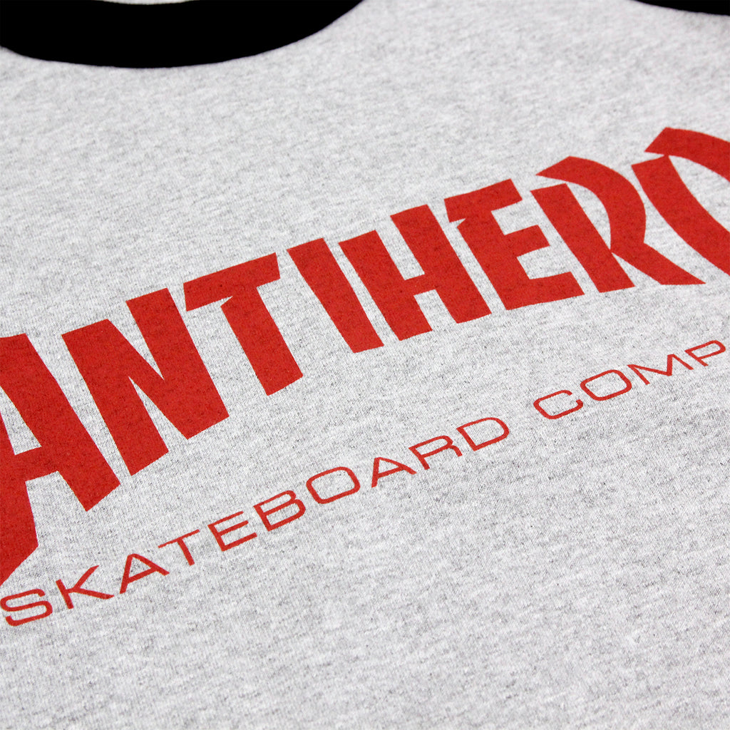 Anti Hero Skateboards Skate Co 3/4 Raglan T Shirt in Black / Athletic Heather - Print