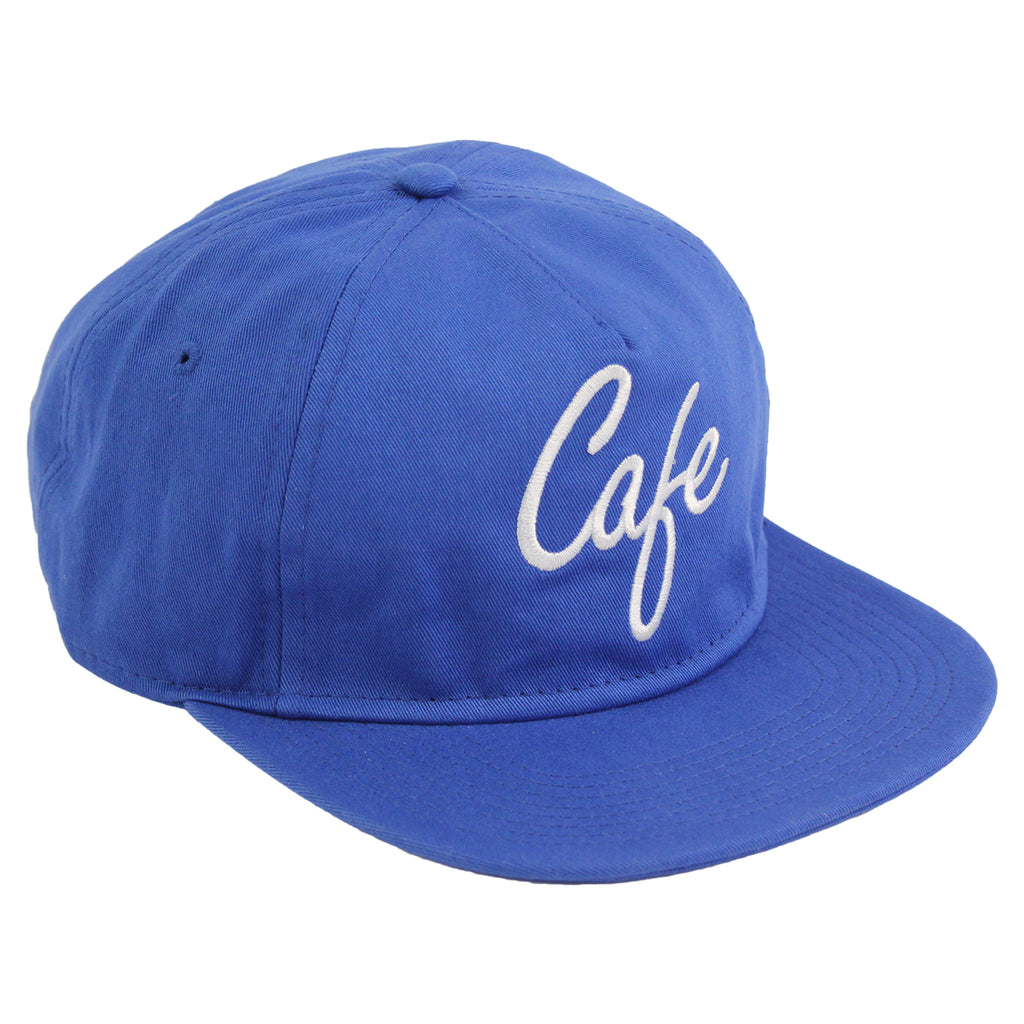 Skateboard Cafe Diner Script Deconstructed 5 Panel Cap in Blue