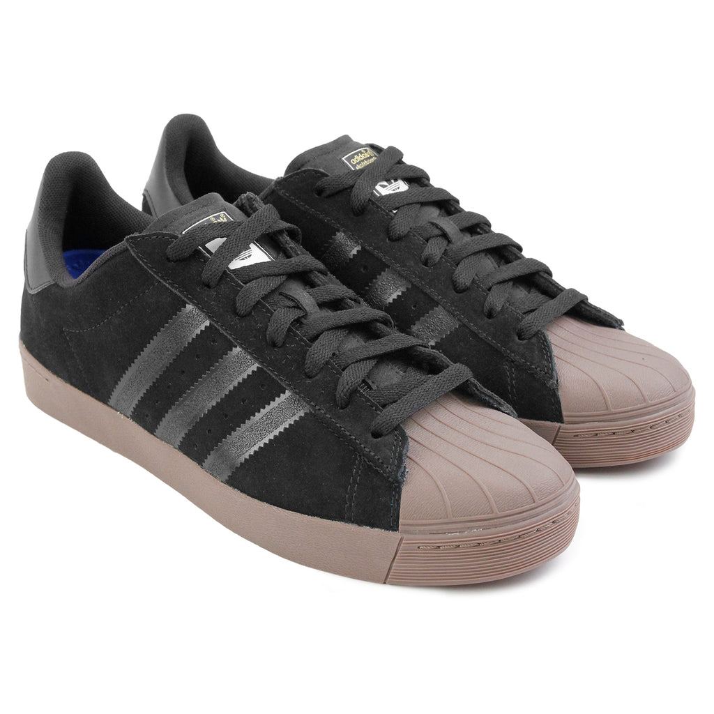 Adidas Skateboarding Superstar Vulc ADV Shoes in Black / Gold Metallic / Gum - Paired