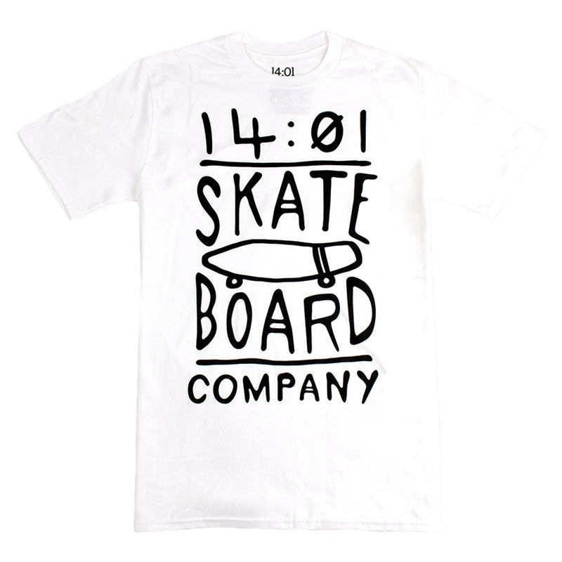14:01 Skateboard Co Cruise or Lose T Shirt in White