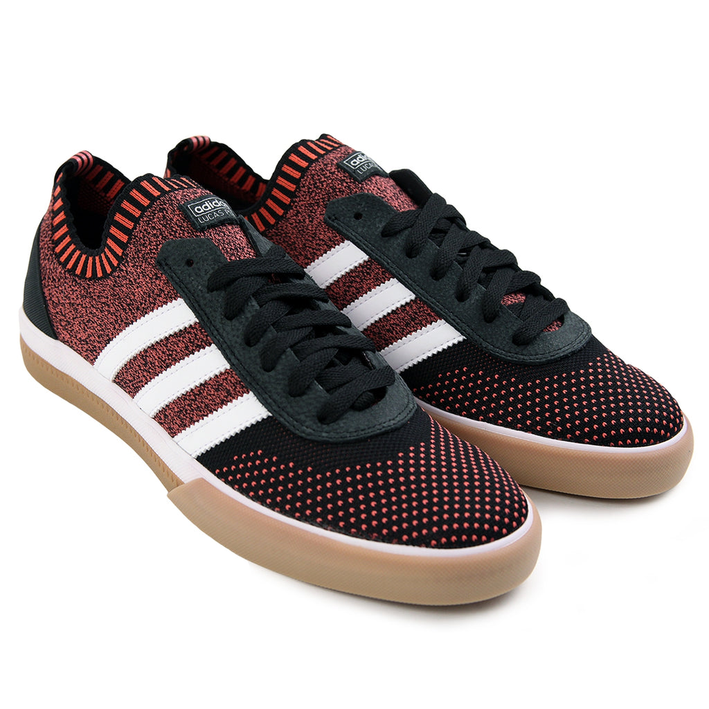 Adidas Skateboarding Lucas Premiere Primeknit Shoes in Core Black / FTW White / Trace Scarlet - Pair