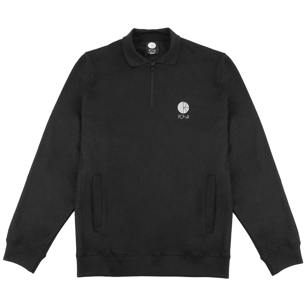 Polar Skate Co Half Zip Sweatshirt in Black / Reflective Silver