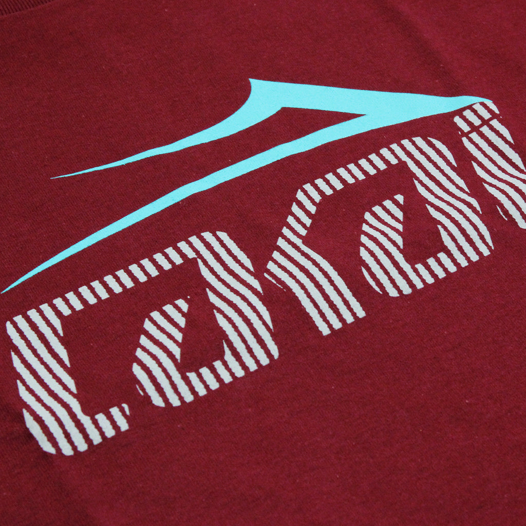 Lakai Tonal Tech T Shirt in Burgundy - Print
