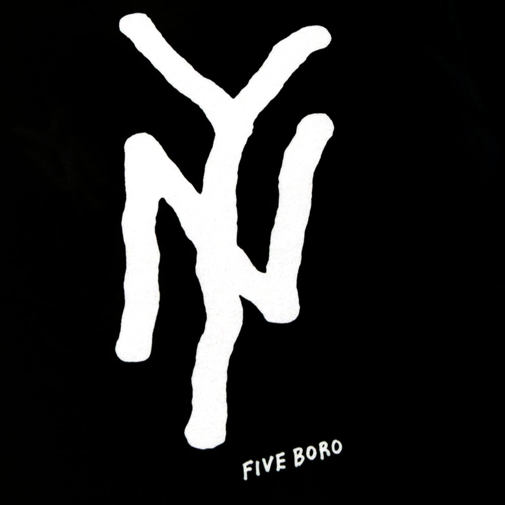 5Boro NY Monogram T Shirt in Black - Print