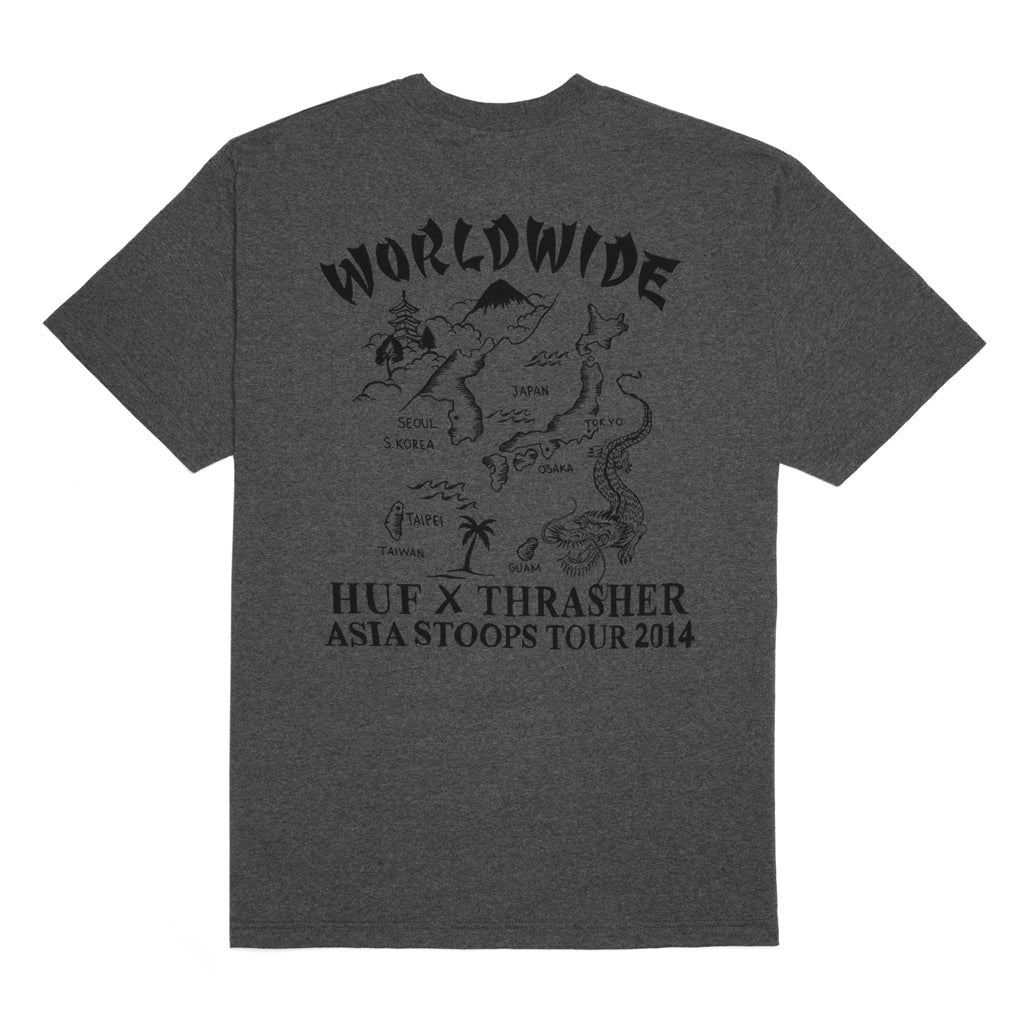 HUF x Thrasher Asia Tour Souvenir T Shirt in Heather Charcoal