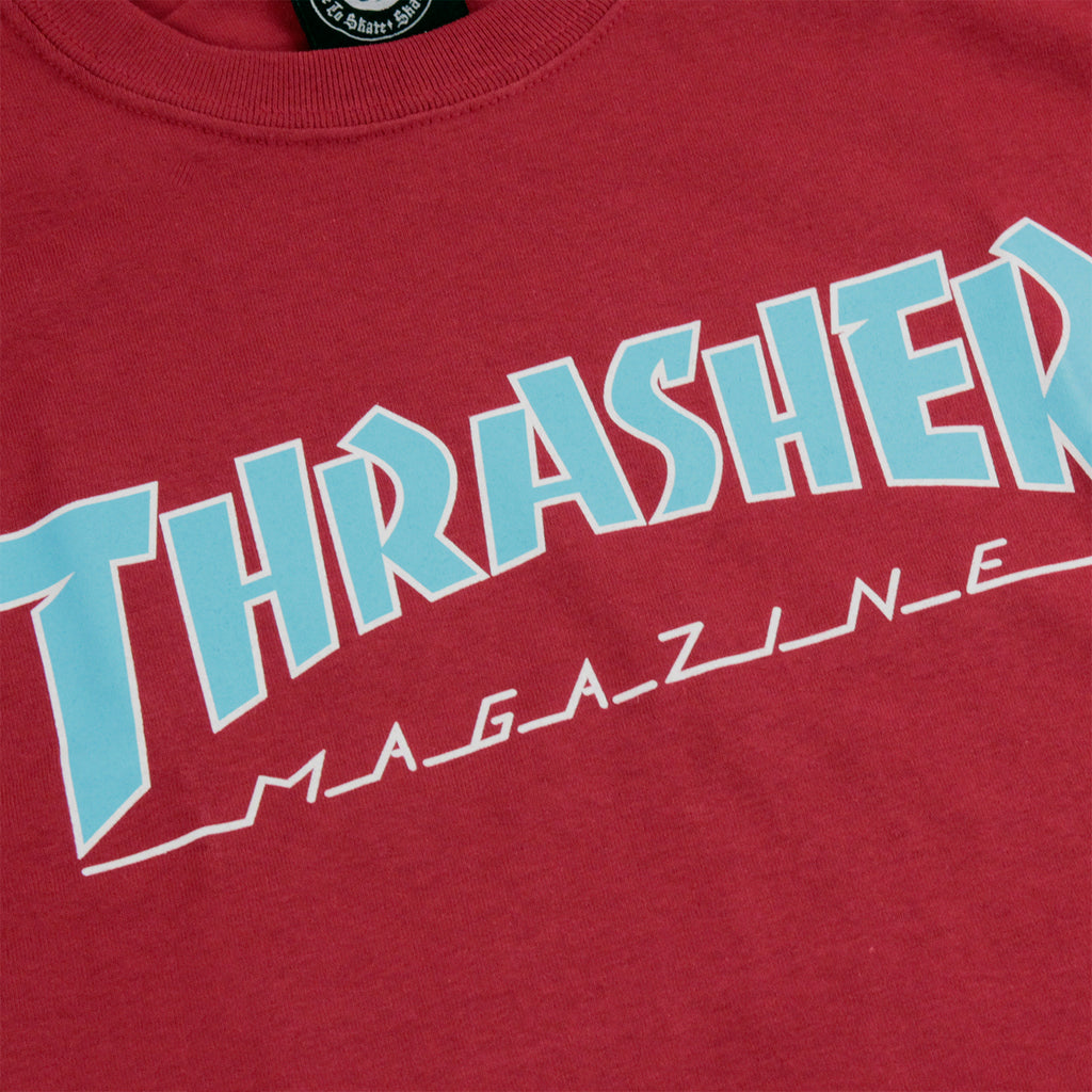 Thrasher Outlined Skate Mag Logo T Shirt in Cardinal - Print