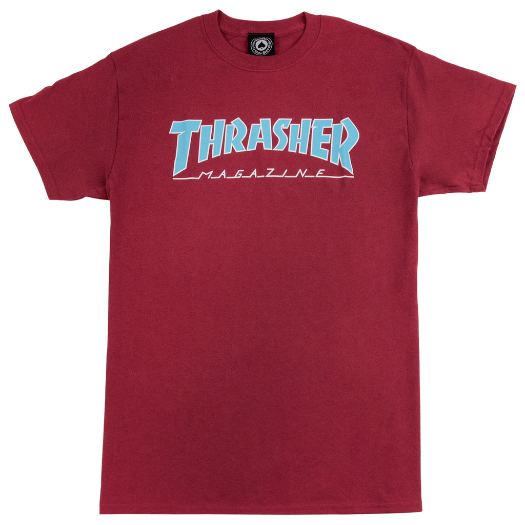 Thrasher Outlined Skate Mag Logo T Shirt in Cardinal