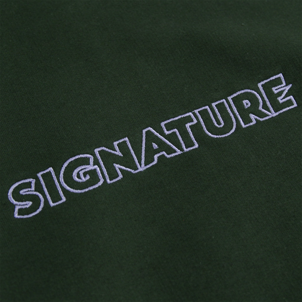 Signature Clothing Outline Logo Embroidered Hoodie in Forest Green / Lilac - Embroidery