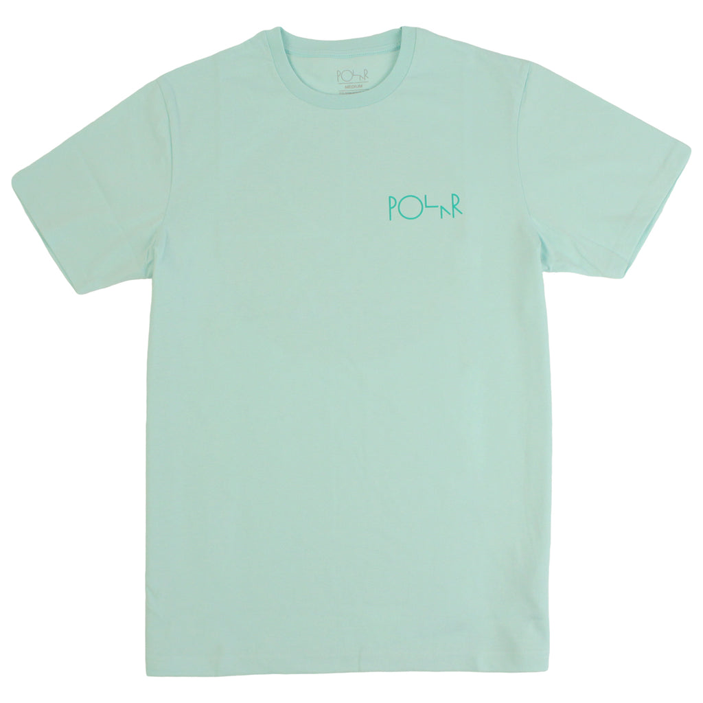 Polar Skate Co Fill Logo Behind The Curtain T Shirt in Pastel Mint / Green - Front