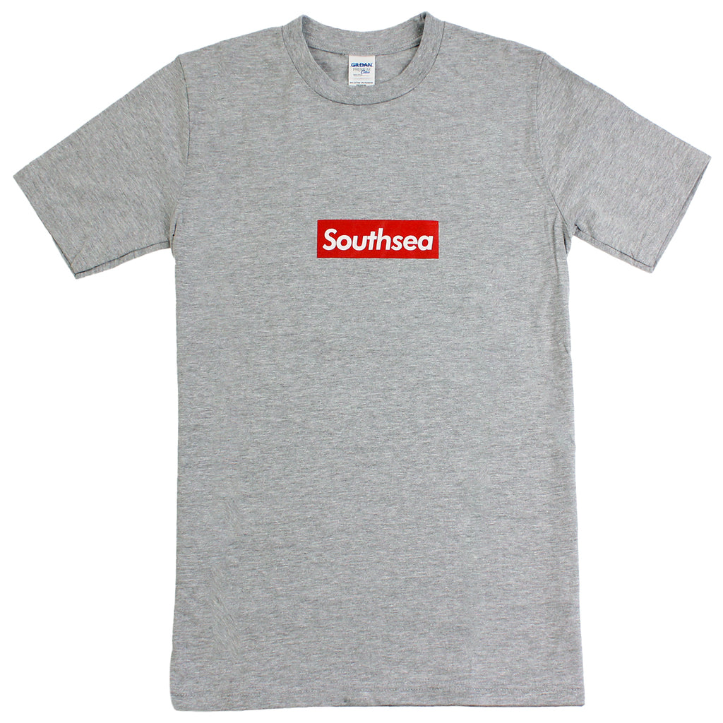 "Bored of Southsea Southsea"" T Shirt in Heather Grey / Red Box"