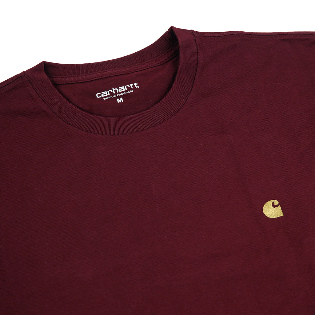 Carhartt L/S Chase T Shirt in Mulberry / Gold - Detail