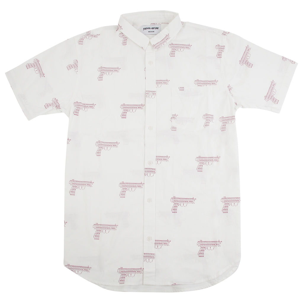 Fucking Awesome Gun Button Down Shirt in White